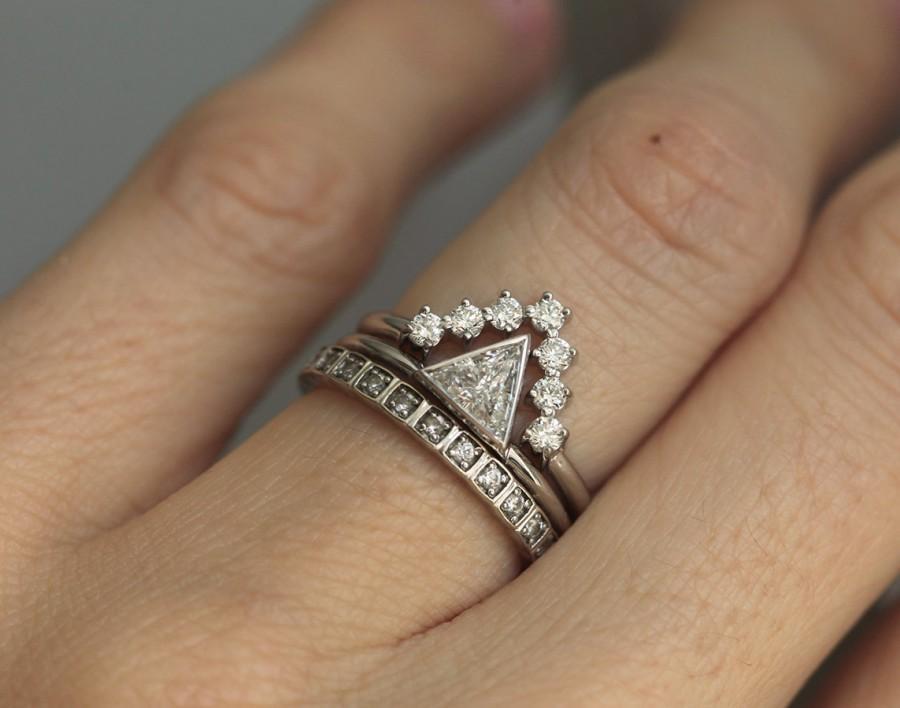 Mariage - Diamond Wedding Ring Set, 0.4 carat diamond with V Diamond Wedding Band, White Gold Ring Set, White Gold Diamond Engagement Set