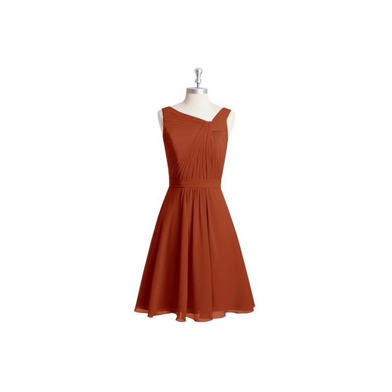 Wedding - Rust Azazie Hermosa - Chiffon Back Zip V Neck Knee Length Dress - The Various Bridesmaids Store