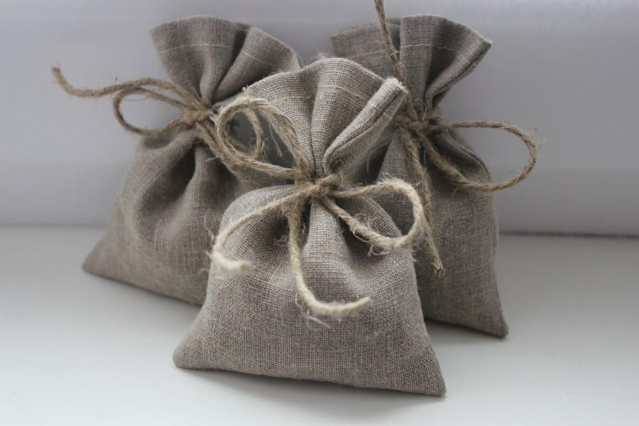 "زفاف - Set of 130 - Wedding Favor Bags. Grey Linen Favor Bags Medium 4"" x 6"""