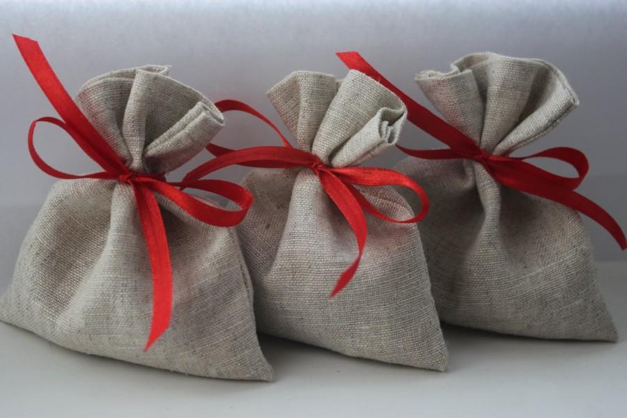 "زفاف - Set of 50 - Wedding Favor Bags. Oatmeal Grey Linen Favor Bags Medium 4"" x 6"""