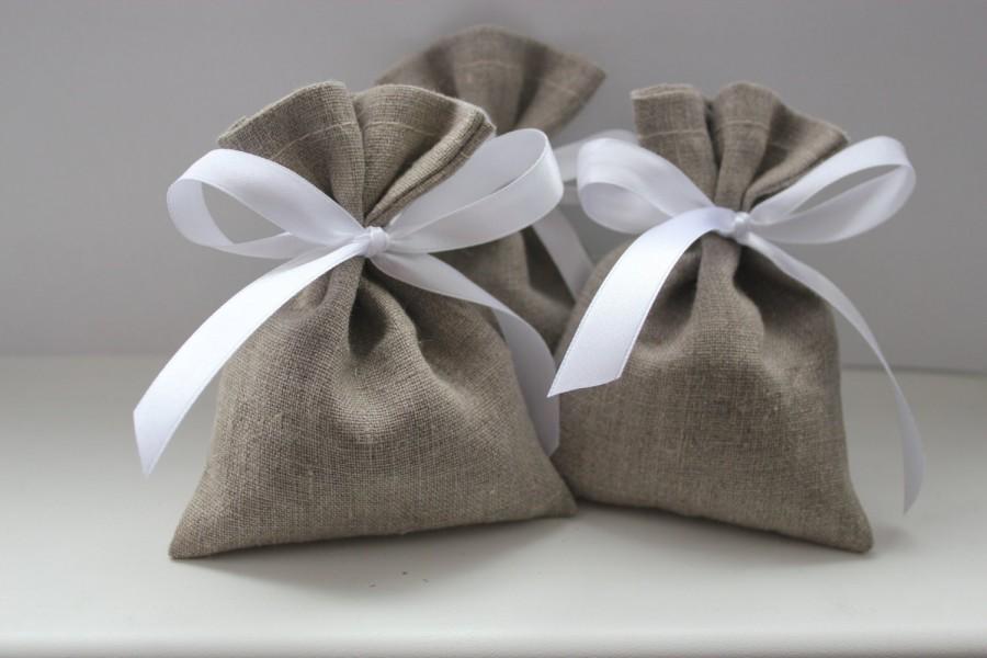 "Mariage - Set of 50 - Wedding Favor Bags. Grey Linen Favor Bags Medium 4"" x 6"""