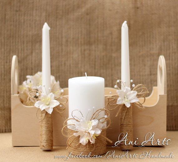 Wedding - Rustic Wedding Candles Rustic Unity Candle Set Unity Candles for Wedding Rope Candles with burlap and lace