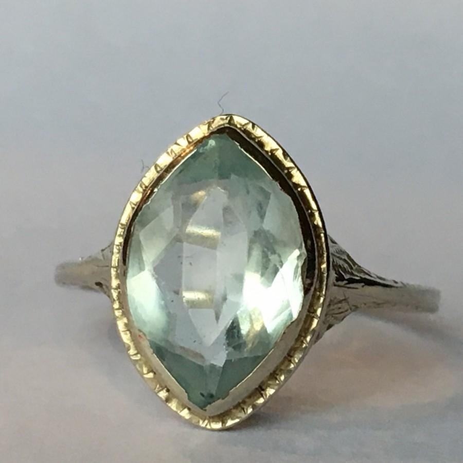 Art Deco Unique Diamond Wedding Ring 14k Two Tone Gold: Vintage Aquamarine Ring. 14k Gold Art Deco Filigree