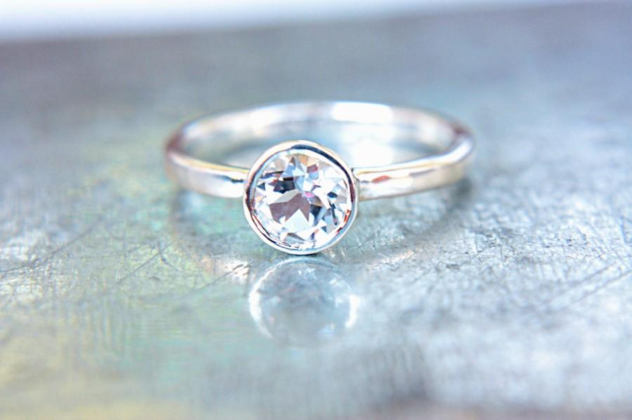 Hochzeit - White Topaz Ring Sterling Silver Topaz Engagement Ring Alternative Diamond Ring Made in Your Size Promise Ring April Birthstone