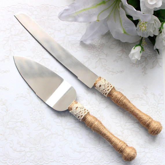 Düğün - Rustic Wedding Cake Serving Set Burlap and Lace Cake Servers and Knives Wedding Cake Server Set Cake Cutting Set Cake Cutter Set