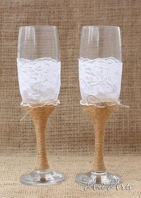 Wedding - Burlap and Lace Wedding Glasses Rustic Toasting Flutes Nautical Mr and Mrs Burlap Champagne Wedding reception Bride and Groom Glasses