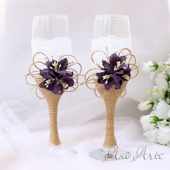 Rustic Wedding Set Burlap And Lace Toasting Flutes Gles Cake Serving Champagne