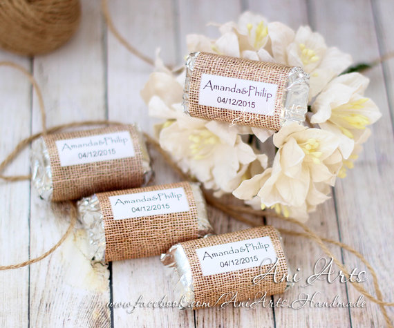 Country Wedding Favors Burlap Mini Hershey Wrer Custom Diy Pdf File Printable Shower Rustic Favours
