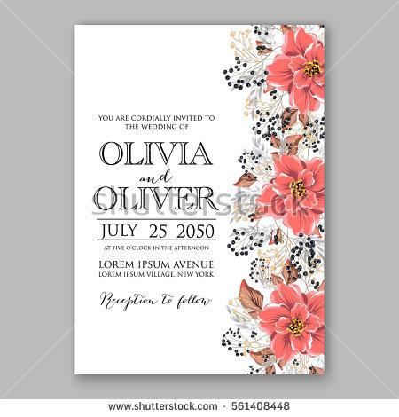 Свадьба - Wedding Invitation Floral Bridal Shower Invitation Wreath with pink flowers Anemone, Peony, wild privet berry, vector floral illustration in vintage watercolor style