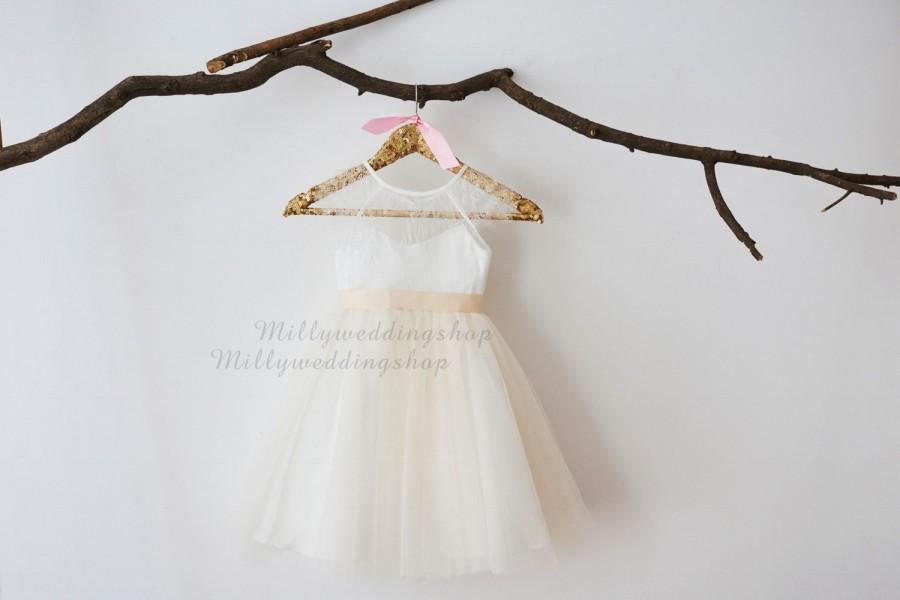 Свадьба - Cap Sleeves Ivory Lace Champagne Tulle Flower Girl Dress Wedding Bridesmaid Dress M0048