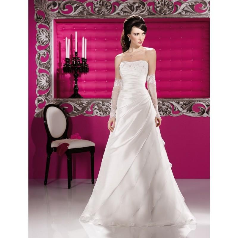 Wedding - Elegant A-line Strapless Beading Lace Ruching Sweep/Brush Train Organza Wedding Dresses - Dressesular.com