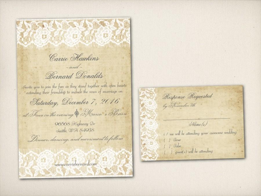 Wedding Invitation Vintage Rustic Lace Invite Modern Rustic Invite
