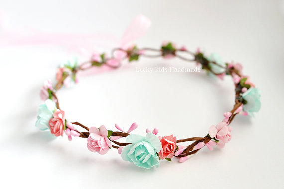 Wedding - Mint peach flower crown - Peach Flower Crown- Mint Flower Crown - Party Floral Crowns- Bridesmaid Flower Crown - Adult Flower Crown - Halo