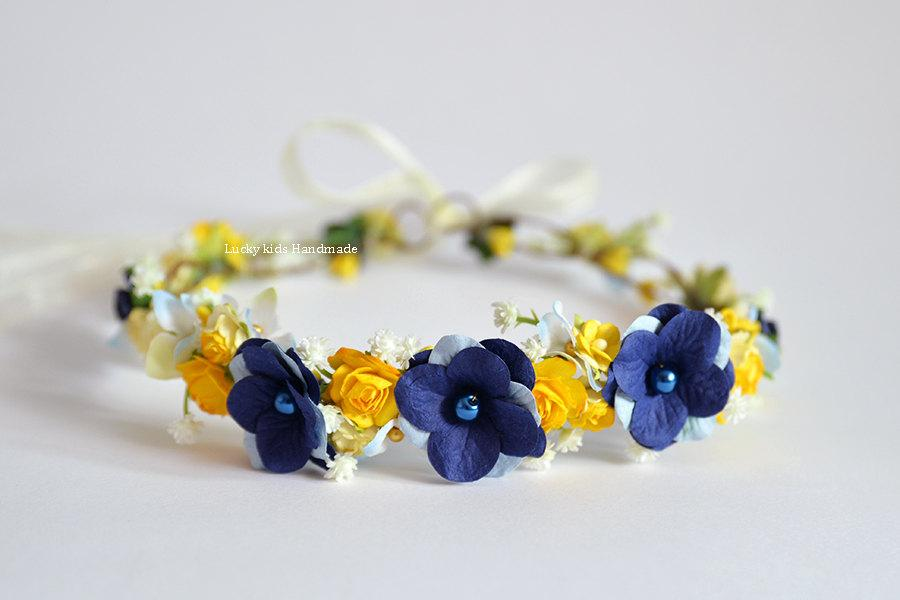Yellow and blue halo - Flower crown - Floral crown yellow blue Bridal flower  crown - Bridesmaid flower crown - Wildflowers crown Hair wreath 7259923be47
