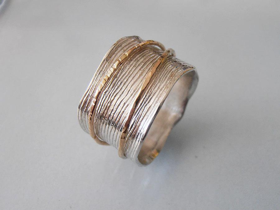 زفاف - Gold Spinning ring. Recycled Sterling silver and 14k gold  rings.wedding ring .statement  ring.
