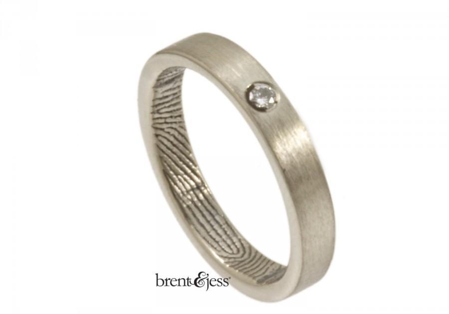 زفاف - Sterling Silver and Diamond Fingerprint Engagement Ring, Promise Ring, Commitment Ring, Fingerprint Wedding Band, Fingerprint ring