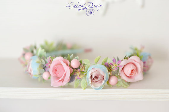 Hochzeit - Wedding flower crown Pastel pink blue Flower girl wedding halo Roses ranunculus wreath Bridal floral crown Pink blue wedding headband