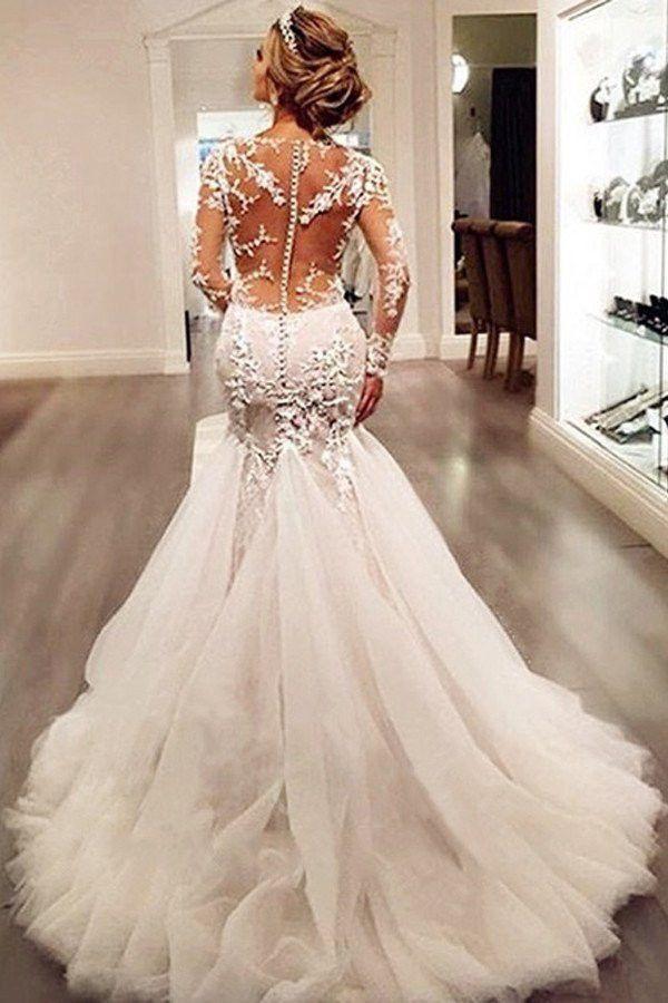 Hochzeit - Long Sleeve Lace Mermaid Wedding Dresses, Sexy See Through Long Custom Wedding Gowns, Affordable Bridal Dresses, 17101