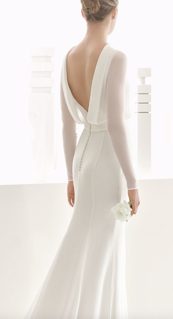 Long Sleeve Draped Open Back Wedding Dress 2651246 Weddbook