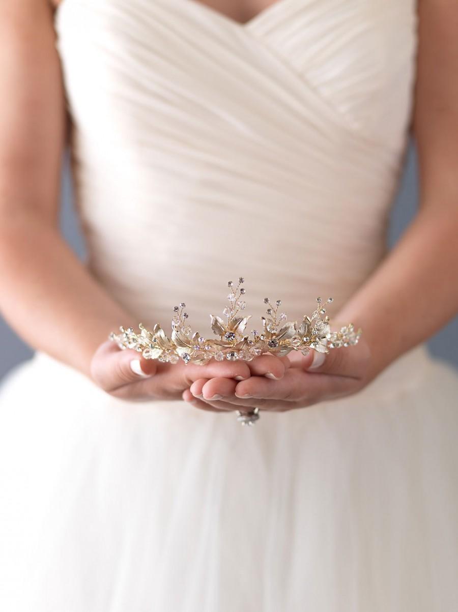 Wedding - Wedding Tiara,Gold Floral Tiara, Bridal Tiara, Princess Tiara, Gold Bridal Crown, Gold Leaf Crown, Gold Tiara, Tiaras For Wedding ~TI-3283-G