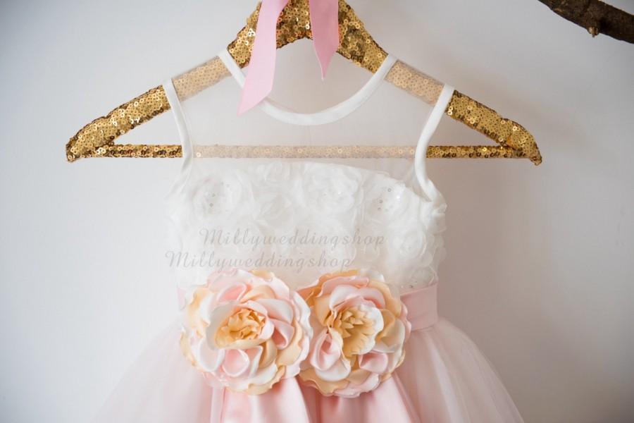 Mariage - Sequin Rosette Lace Blush Pink Tulle  Flower Girl Dress Wedding Bridesmaid Dress M0040