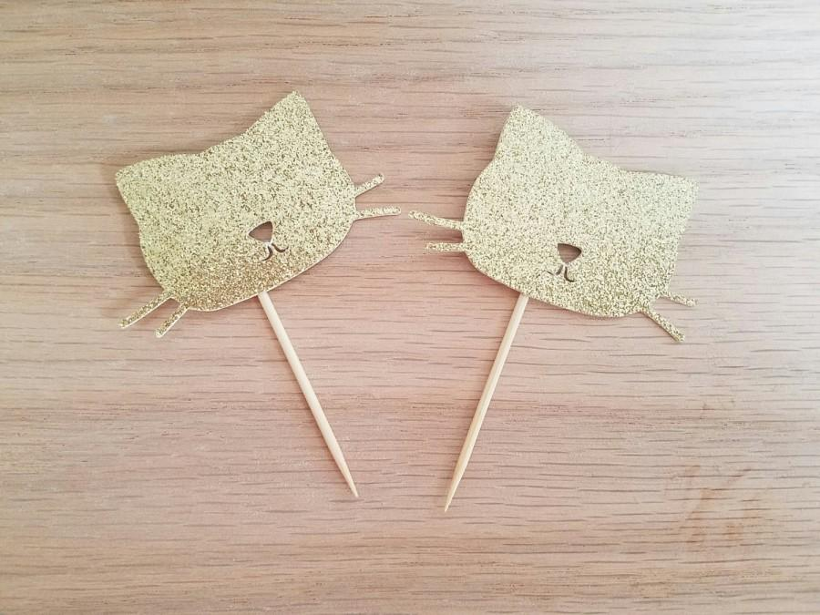 Hochzeit - Cat Cupcake Toppers//Kitty Birthday Party//Glitter Cat Pet 1st Birthday Party Decor//Kitten Birthday//12 Gold Glitter Cat//Cat Lady Decor