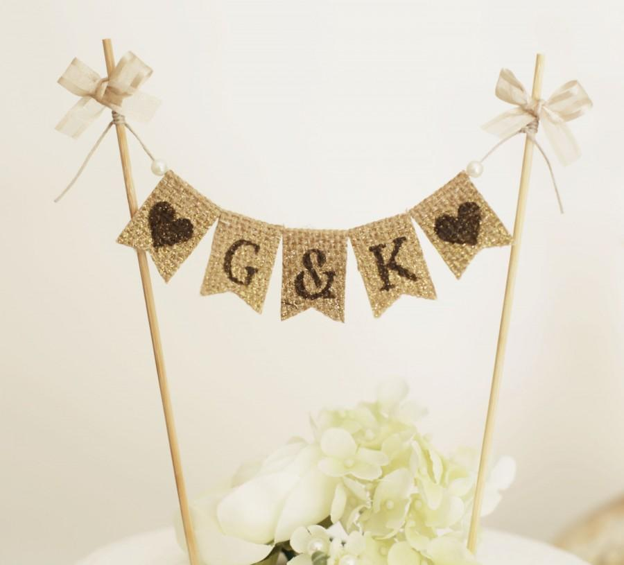 Mariage - Personalized Cake Toppers,Customized Rustic Cake Toppers, Rustic wedding Monogram Cake Topper,Initial Wedding Cake Pick,Monogram Cake Topper