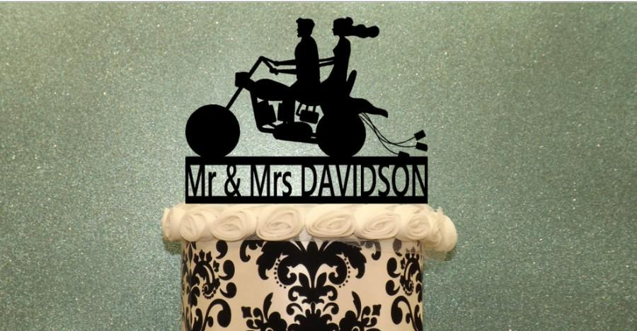 Hochzeit - Motorcycle with Bride and Groom, Personalized with your name..