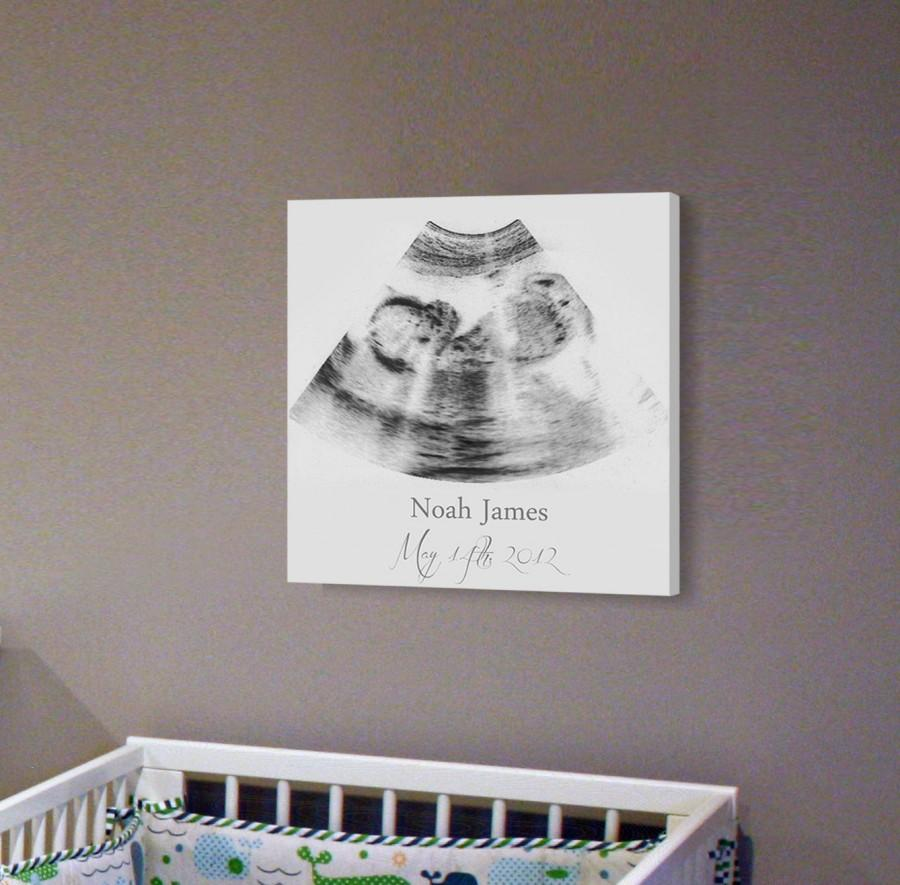 Sonogram Print Nursery Wall Art A Personalized Ultrasound Canvas Frame Decor