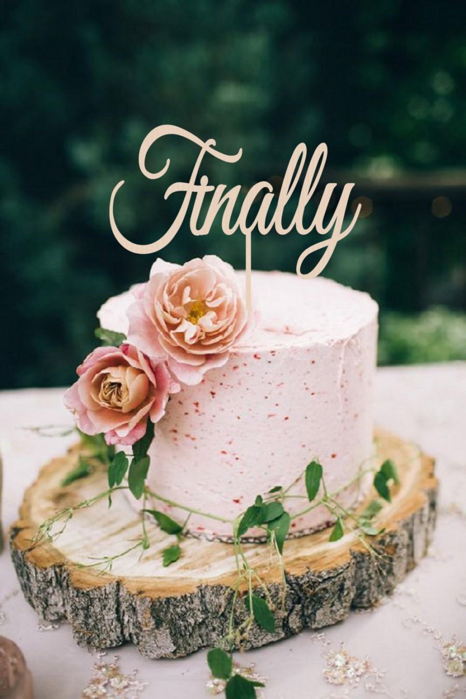 Hochzeit - Wedding Cake Topper Finally  Cake Topper Rustic Cake Topper  Personalized  Wood Cake Topper Golden