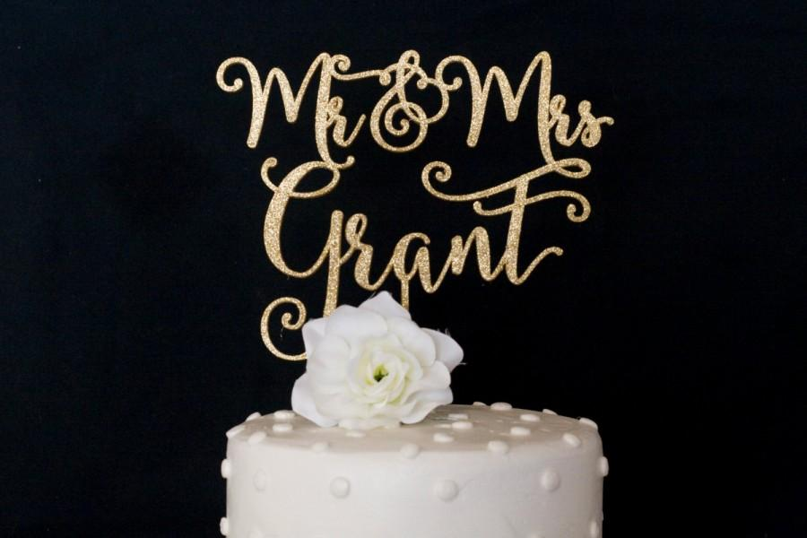 Mariage - Custom Last Name Mr and Mrs Wedding Cake Topper
