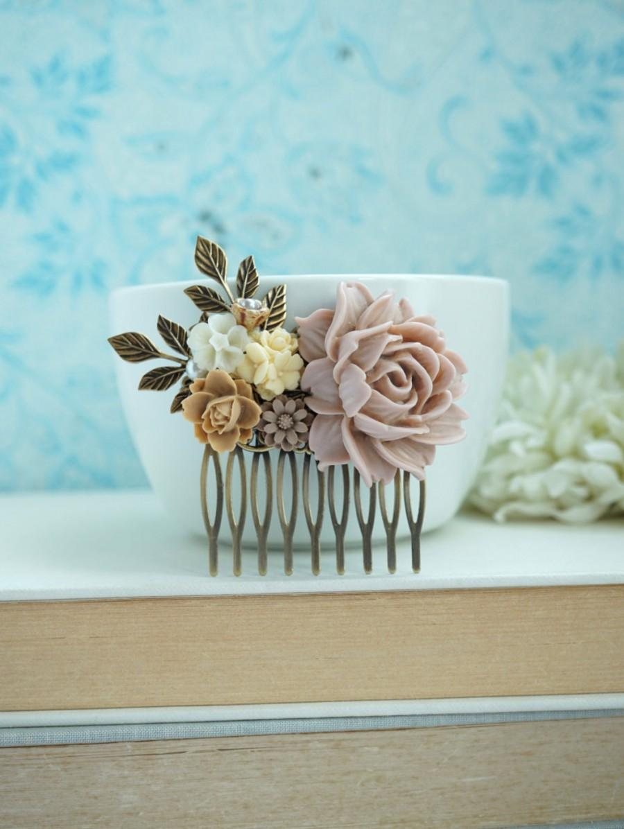 Mariage - Shabby Dusty Pink Rose, Ivory, Brown, Leaf, Vintage Style Hair Comb. Bridesmaids Gift. Nature Ranch Country Wedding.
