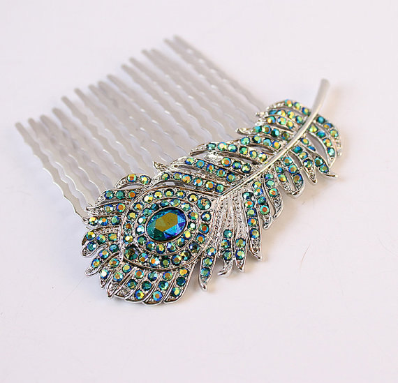 Mariage - Peacock Wedding Hair Accessory, Rhinestone Peacock Feather Comb, Teal Blue Hair Pin, Prom Hairpiece, Bridal Hair Jewelry, Bridesmaid Gift