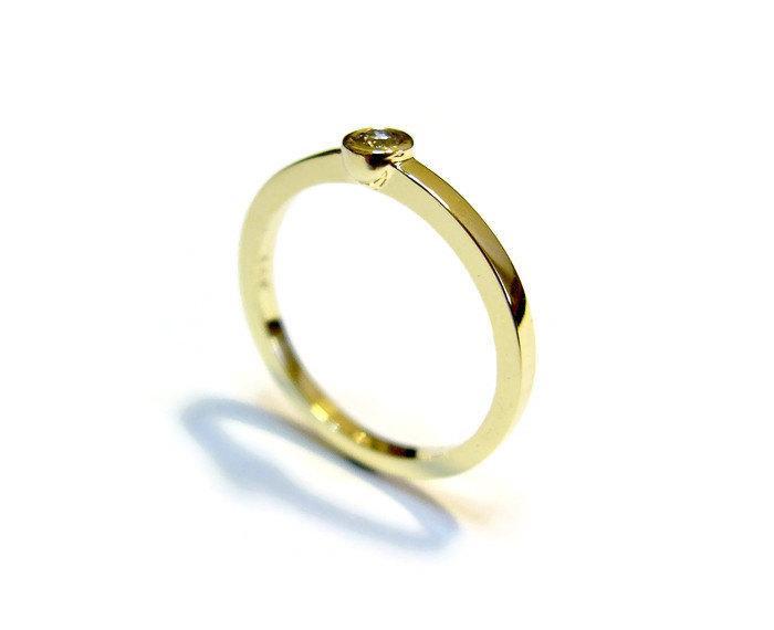 زفاف - Simple Engagement Ring, Diamond Gold Ring, Solitaire Gold Ring With Diamond 0.10 Carat, Bezel Diamond Ring, Yellow Gold Jewelry