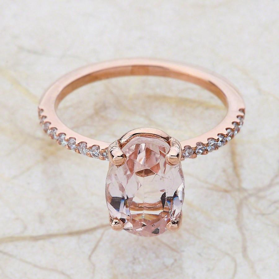 زفاف - Rose Gold Diamond Engagement Ring Center Is A 10x8 Natural Olval Pink Morganite
