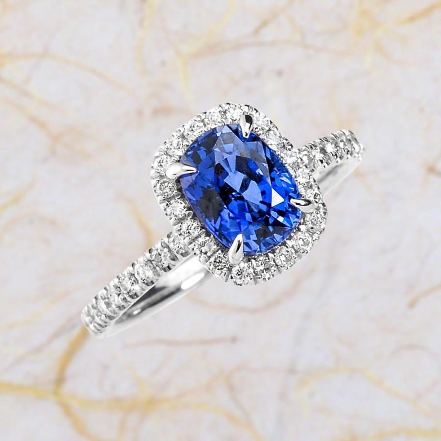 زفاف - Blue Sapphire Engagement Ring - 14k White Gold Engagement Ring With 8x6 Lab Created Centre