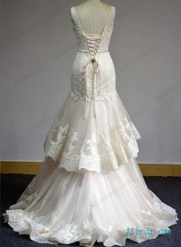 Свадьба - Blush pink strappy lace tiered mermaid wedding dress