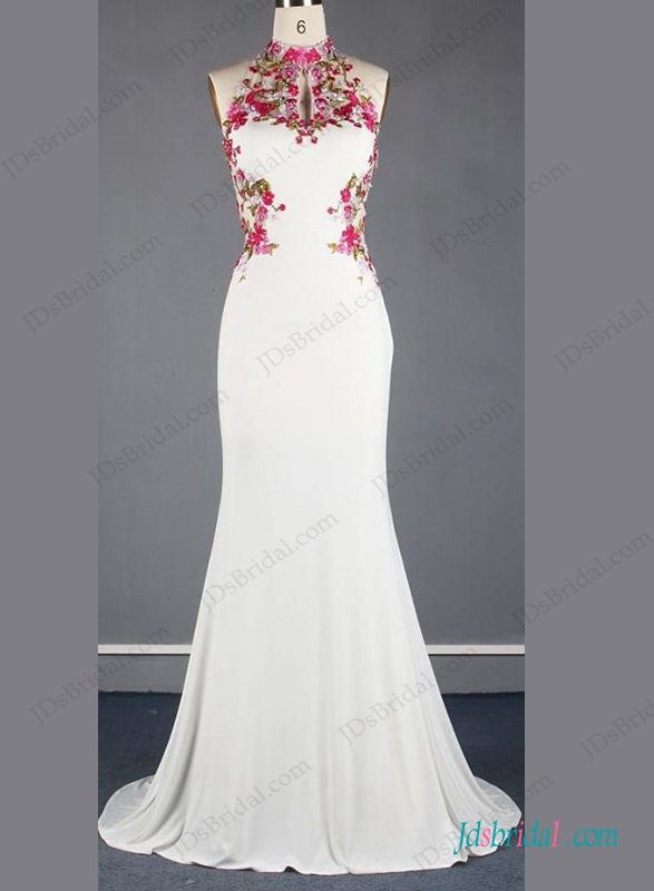 Boda - Unique chinese style halter backless mermaid wedding dress