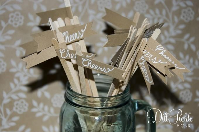 Hochzeit - 25 Kraft Paper Rustic Drink Stir Sticks with Calligraphy