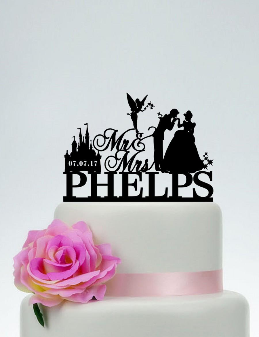 Disney Wedding Cake Topper,Mr And Mrs Cake Topper With Surname ... Disney Wedding Cake Toppers