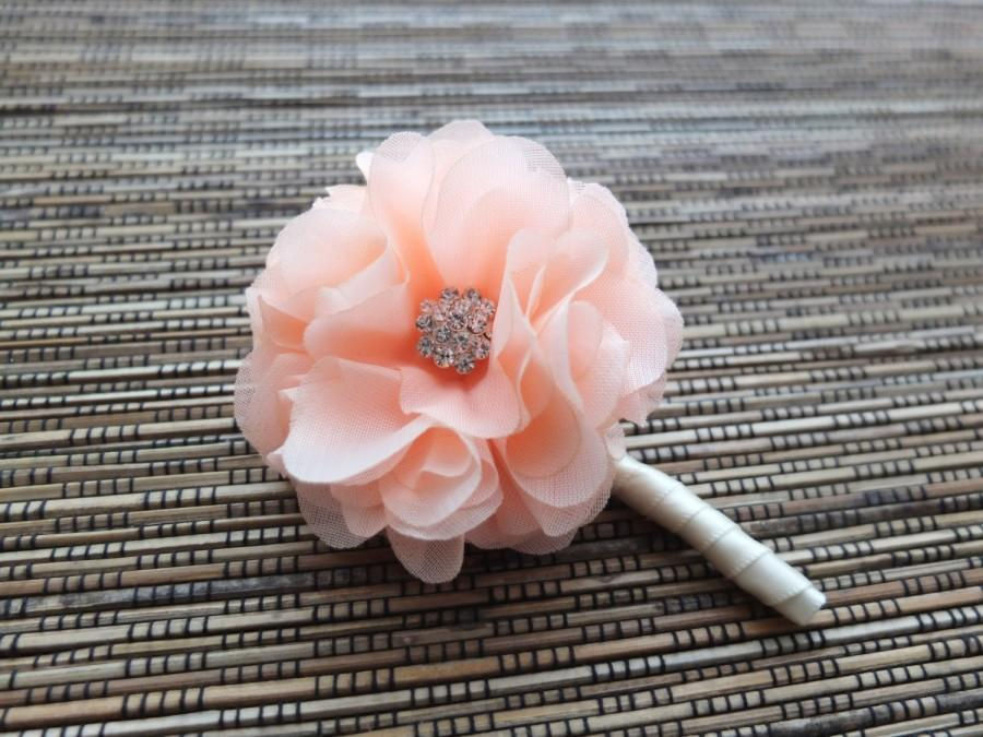 Mariage - Peach Boutonniere, Shabby Chic Chiffon Rose Boutonniere, Coral Boutonniere