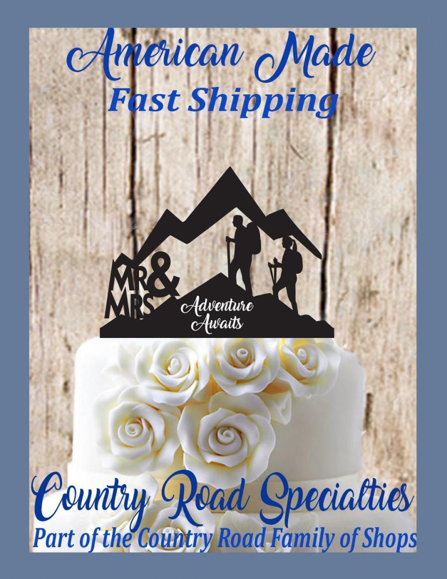 Wedding - Mr & Mrs Silhouette Mountain Hiker Couple Adventure Awaits Wedding Cake Topper.....Made In USA
