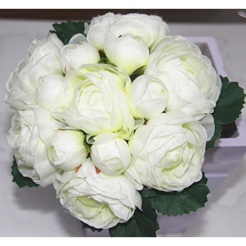 Mariage - 1X Peony Rose Bouquet Posy Artificial Silk Flowers Wedding Bridal Party Home Floral Decoration 4 Colors