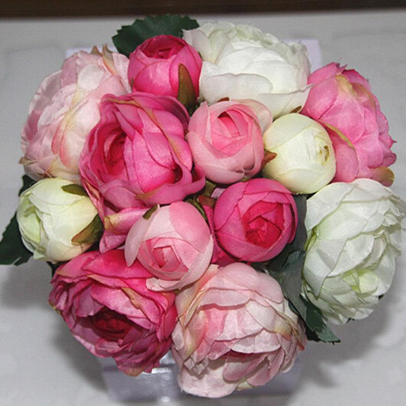 Mariage - 1X Peony Rose Bouquet Artificial Silk Flowers Posy Wedding Bridal Party Home Floral Decor 4 Colors