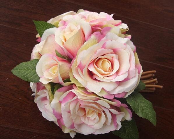 زفاف - 1X Rose Bouquet Artificial Silk Flowers Wedding Bridal Party Home Floral Decor Posy 26cm