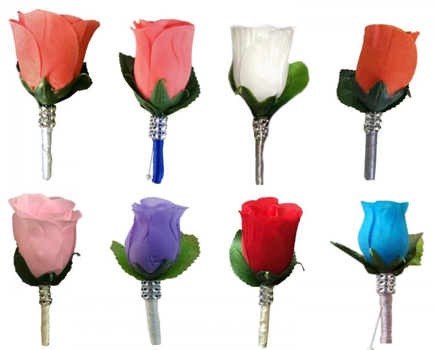 Boutonniere artificial rose buds with ribbon wrapped stemsselect boutonniere artificial rose buds with ribbon wrapped stemsselect desired rose and ribbon color mightylinksfo