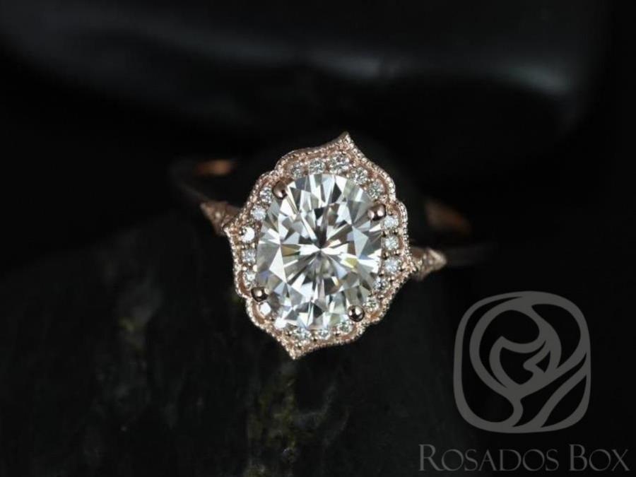 زفاف - Mae 9x7mm 14kt Rose Gold Oval FB Moissanite and Diamond Halo WITH Milgrain Engagement Ring (Other metals and stone options available)