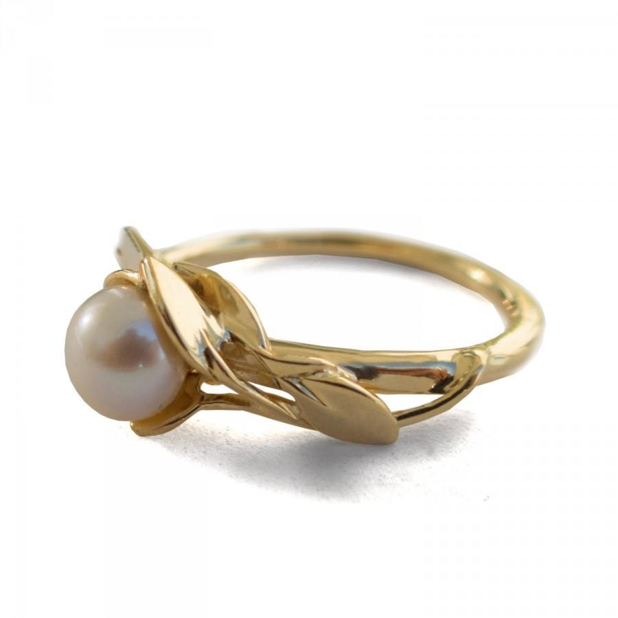 زفاف - Leaves Engagement Ring No.6 - 18K Yellow Gold and Pearl engagement ring, unique engagement ring, leaf ring, Pearl, antique, June Birthstone