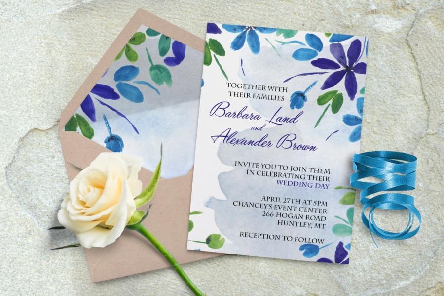 Wedding - Printable wedding invitation, Digital wedding invite, Floral wedding