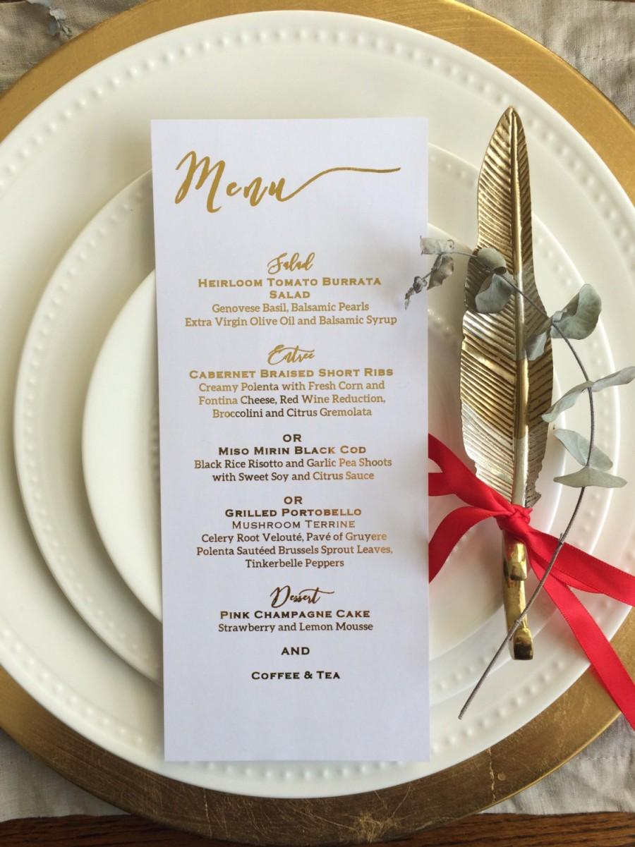 Hochzeit - Gold foil menu card/dinner menu/wedding menu/wedding menu card/ wedding place setting/ gold menu/place card/escort card/ dinner menu